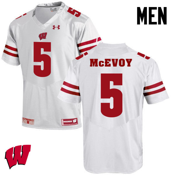 Men Winsconsin Badgers #5 Tanner McEvoy College Football Jerseys-White