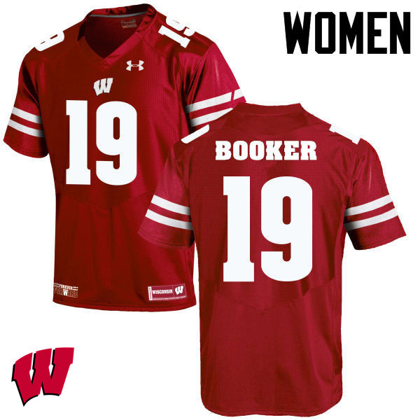 Women Winsconsin Badgers #19 Titus Booker College Football Jerseys-Red
