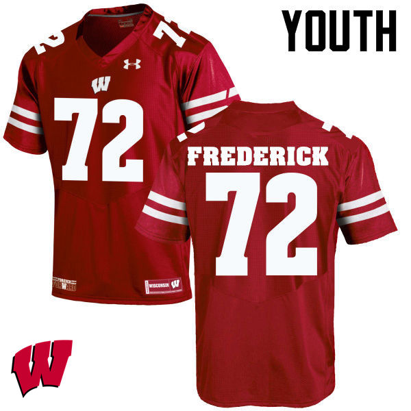Youth Wisconsin Badgers #72 Travis Frederick College Football Jerseys-Red