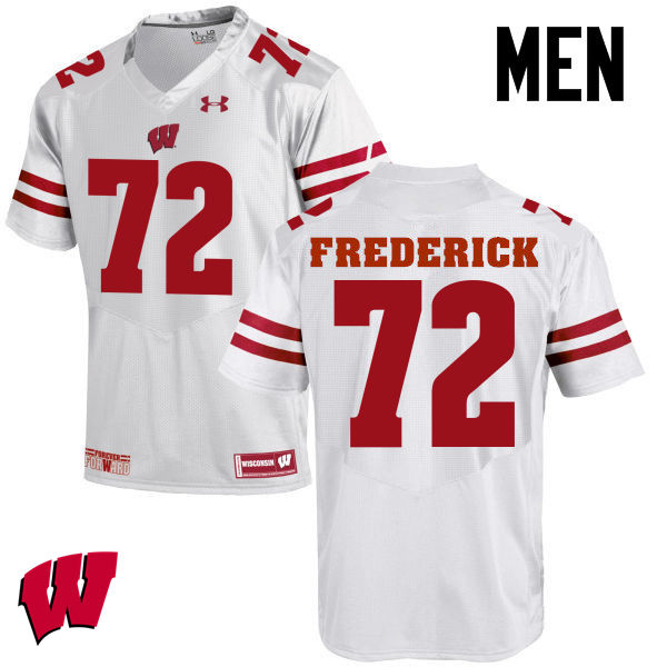 Men Wisconsin Badgers #72 Travis Frederick College Football Jerseys-White