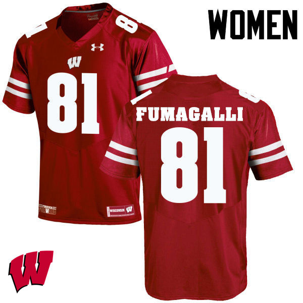 Women Wisconsin Badgers #81 Troy Fumagalli College Football Jerseys-Red