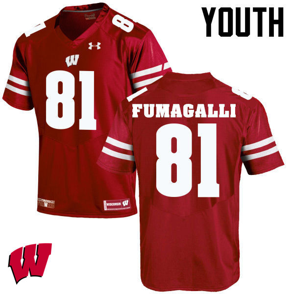 Youth Wisconsin Badgers #81 Troy Fumagalli College Football Jerseys-Red