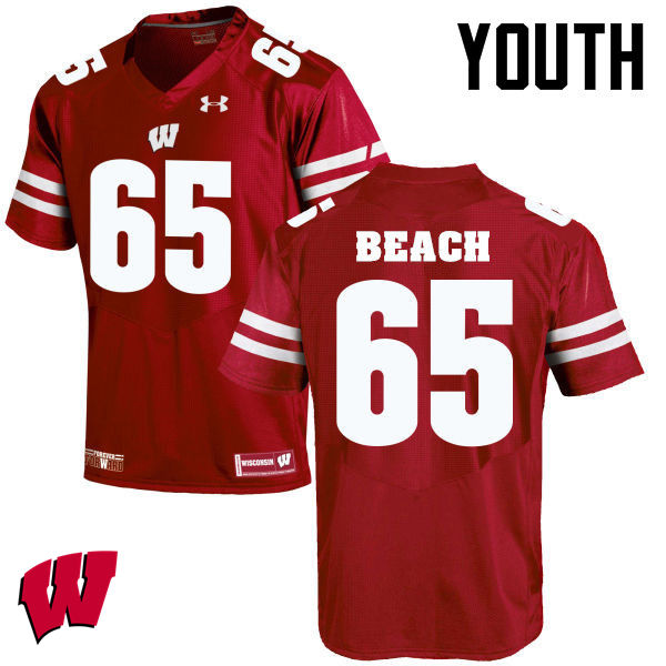 Youth Winsconsin Badgers #65 Tyler Beach College Football Jerseys-Red
