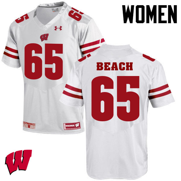 Women Winsconsin Badgers #65 Tyler Beach College Football Jerseys-White
