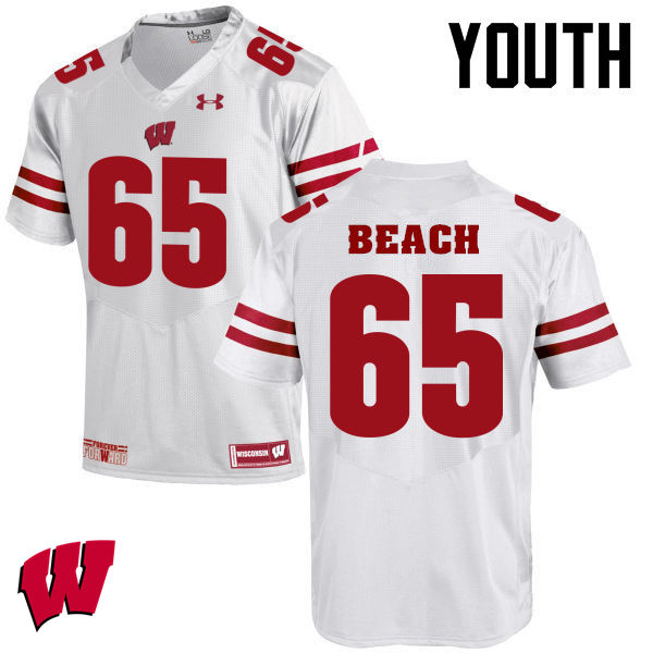 Youth Winsconsin Badgers #65 Tyler Beach College Football Jerseys-White