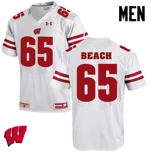 Men Winsconsin Badgers #65 Tyler Beach College Football Jerseys-White