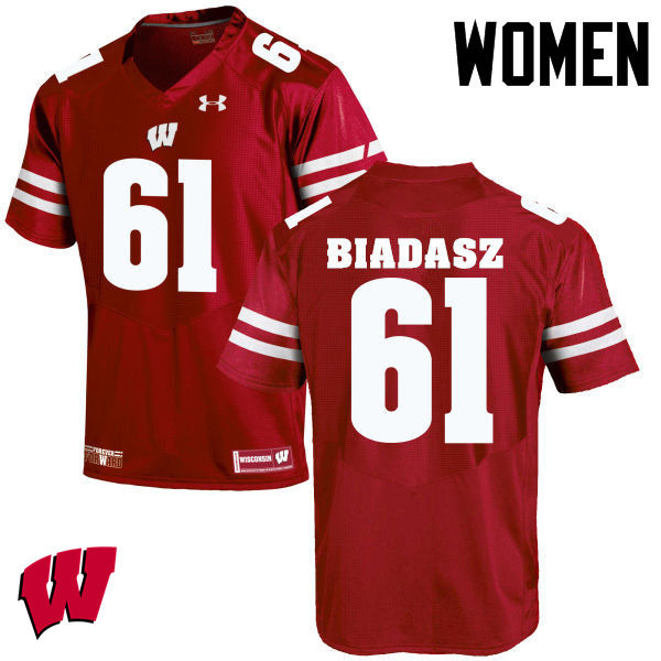 Women Wisconsin Badgers #61 Tyler Biadasz College Football Jerseys-Red