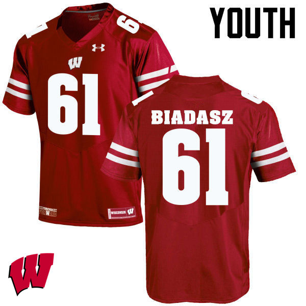 Youth Wisconsin Badgers #61 Tyler Biadasz College Football Jerseys-Red
