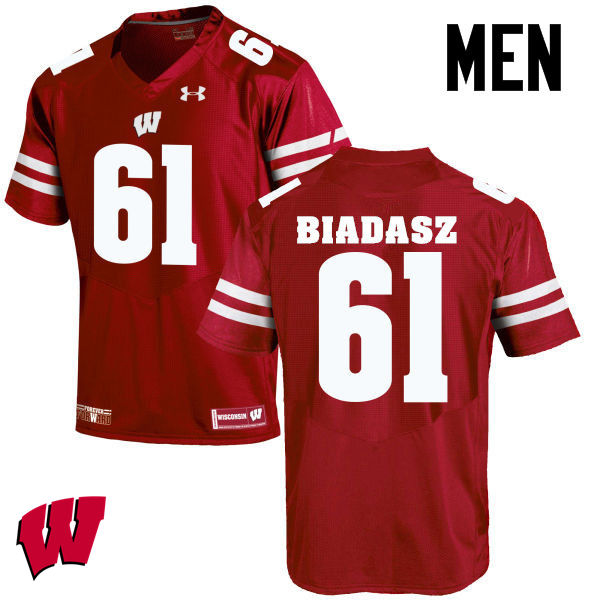 Men Wisconsin Badgers #61 Tyler Biadasz College Football Jerseys-Red