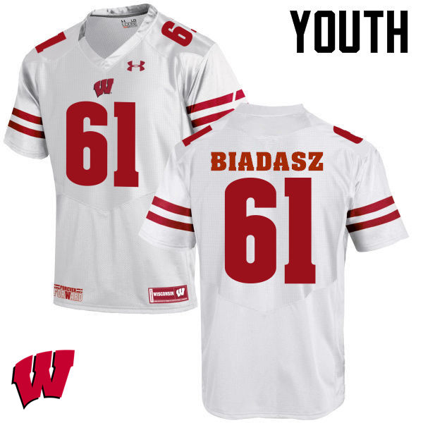 Youth Wisconsin Badgers #61 Tyler Biadasz College Football Jerseys-White
