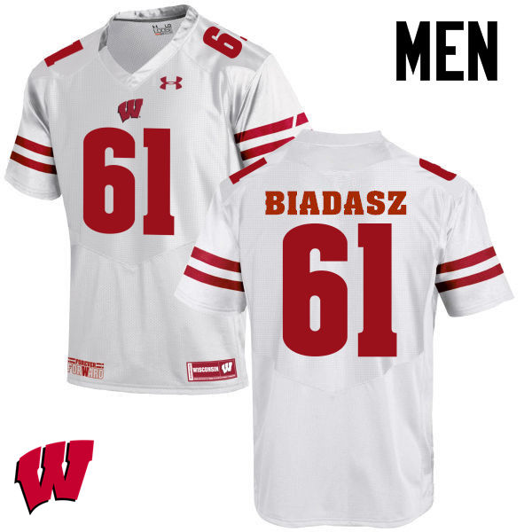 Men Wisconsin Badgers #61 Tyler Biadasz College Football Jerseys-White