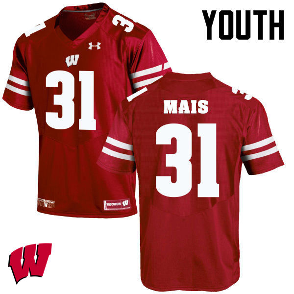 Youth Winsconsin Badgers #31 Tyler Mais College Football Jerseys-Red