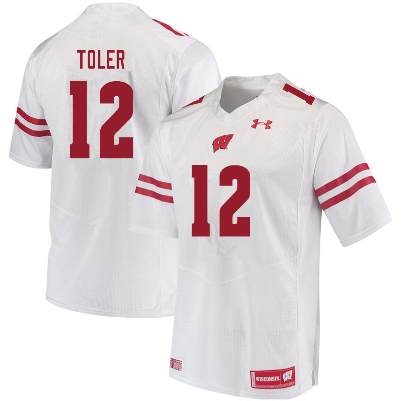 Men #12 Titus Toler Wisconsin Badgers College Football Jerseys Sale-White