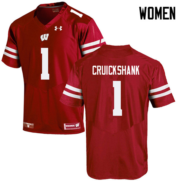 Women #1 Aron Cruickshank Wisconsin Badgers College Football Jerseys Sale-Red