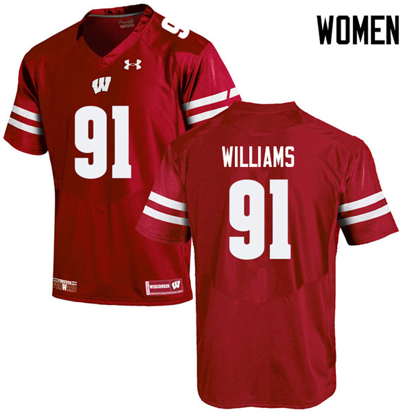 Women #91 Bryson Williams Wisconsin Badgers College Football Jerseys Sale-Red