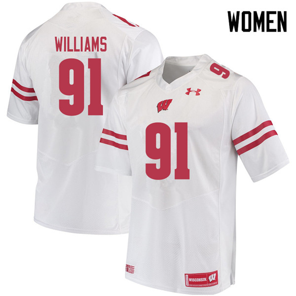 Women #91 Bryson Williams Wisconsin Badgers College Football Jerseys Sale-White