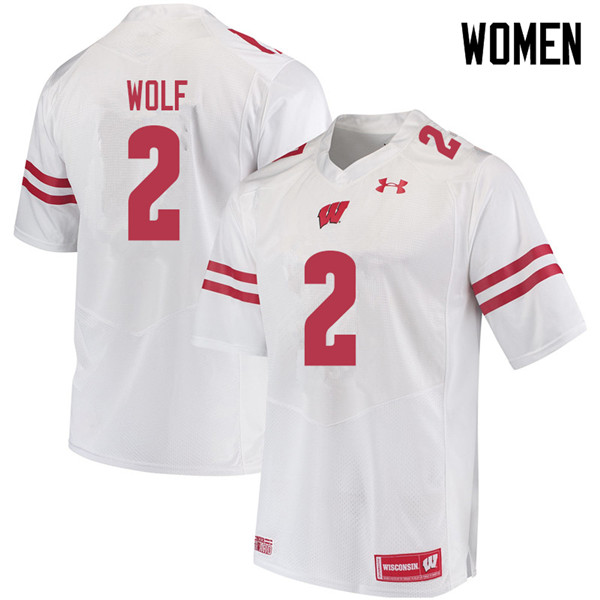 Women #2 Chase Wolf Wisconsin Badgers College Football Jerseys Sale-White