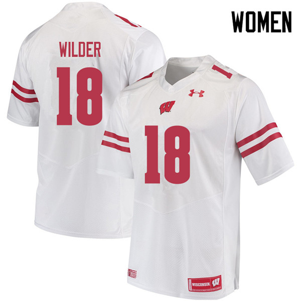 Women #18 Collin Wilder Wisconsin Badgers College Football Jerseys Sale-White