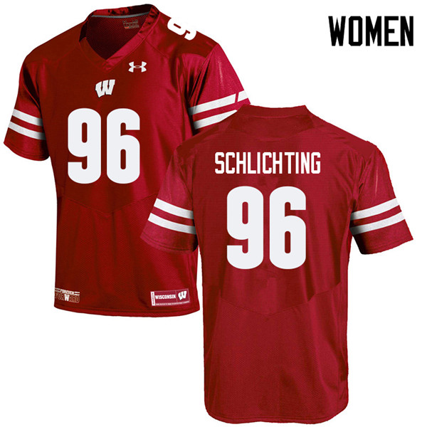 Women #96 Conor Schlichting Wisconsin Badgers College Football Jerseys Sale-Red