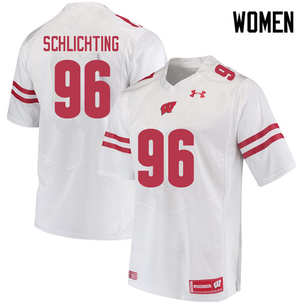 Women #96 Conor Schlichting Wisconsin Badgers College Football Jerseys Sale-White