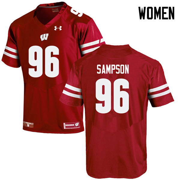 Women #96 Cormac Sampson Wisconsin Badgers College Football Jerseys Sale-Red