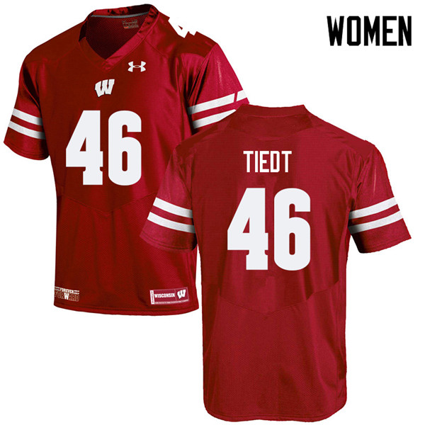 Women #46 Hegeman Tiedt Wisconsin Badgers College Football Jerseys Sale-Red
