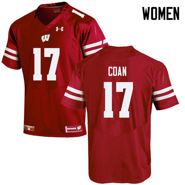 Women #17 Jack Coan Wisconsin Badgers College Football Jerseys Sale-Red