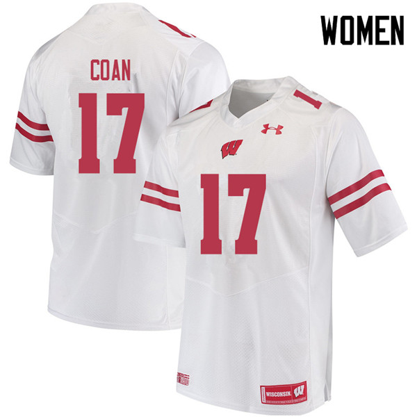 Women #17 Jack Coan Wisconsin Badgers College Football Jerseys Sale-White