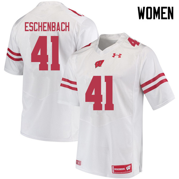 Women #41 Jack Eschenbach Wisconsin Badgers College Football Jerseys Sale-White