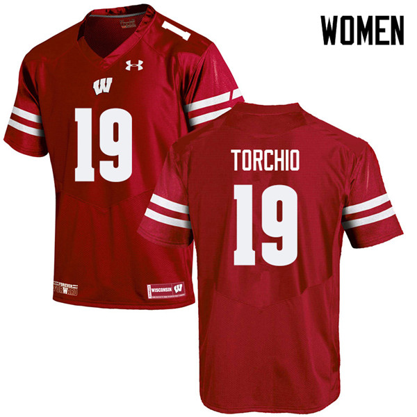 Women #19 John Torchio Wisconsin Badgers College Football Jerseys Sale-Red
