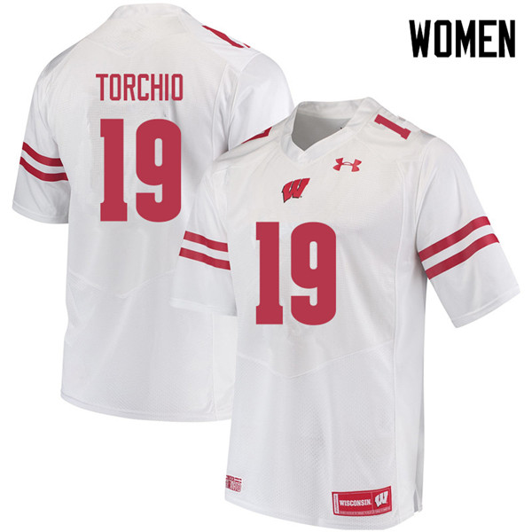 Women #19 John Torchio Wisconsin Badgers College Football Jerseys Sale-White