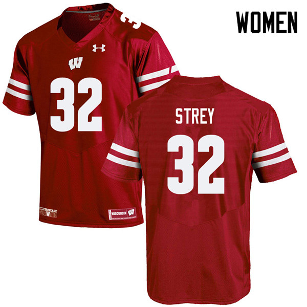 Women #32 Marty Strey Wisconsin Badgers College Football Jerseys Sale-Red