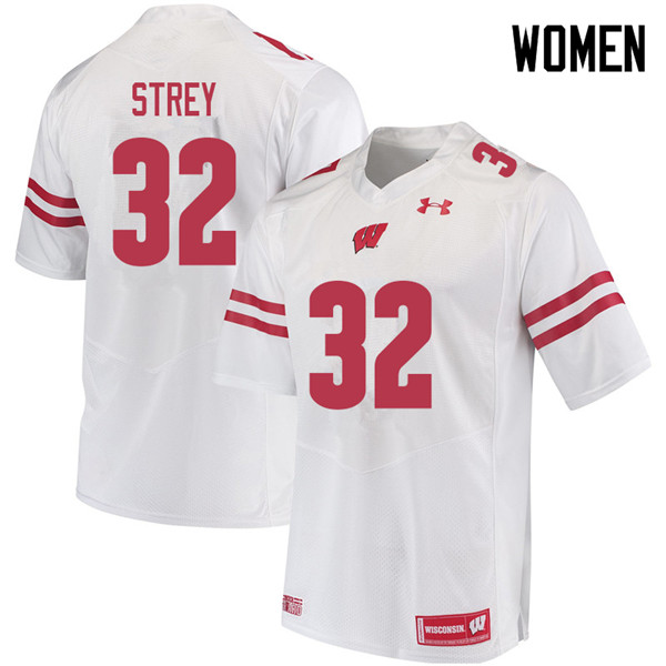 Women #32 Marty Strey Wisconsin Badgers College Football Jerseys Sale-White