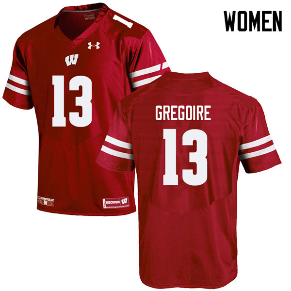 Women #13 Mike Gregoire Wisconsin Badgers College Football Jerseys Sale-Red