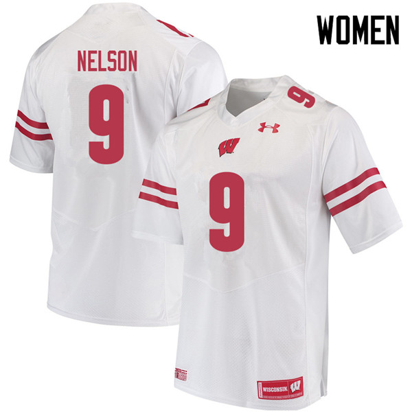 Women #9 Scott Nelson Wisconsin Badgers College Football Jerseys Sale-White