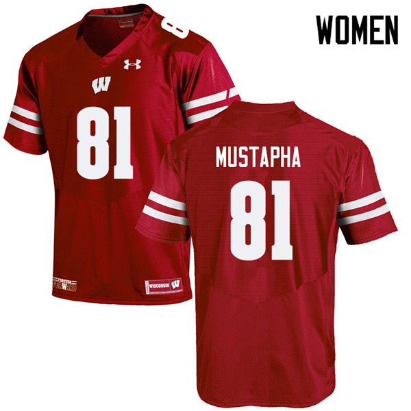 Women #81 Taj Mustapha Wisconsin Badgers College Football Jerseys Sale-Red