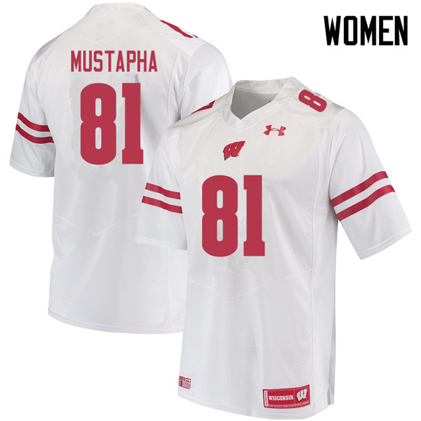 Women #81 Taj Mustapha Wisconsin Badgers College Football Jerseys Sale-White