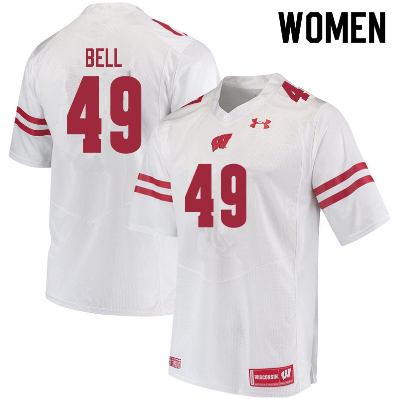 Women #49 Christian Bell Wisconsin Badgers College Football Jerseys Sale-White