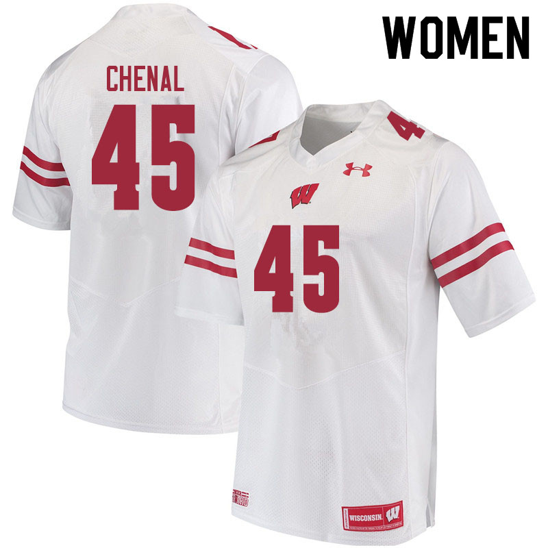 Women #45 Leo Chenal Wisconsin Badgers College Football Jerseys Sale-White