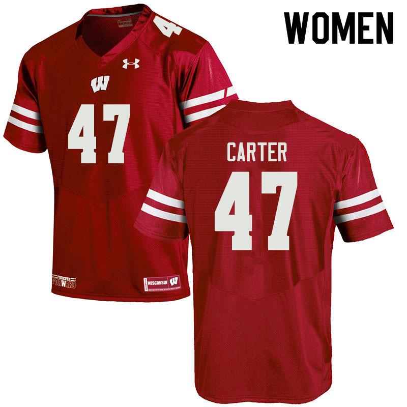Women #47 Nate Carter Wisconsin Badgers College Football Jerseys Sale-Red