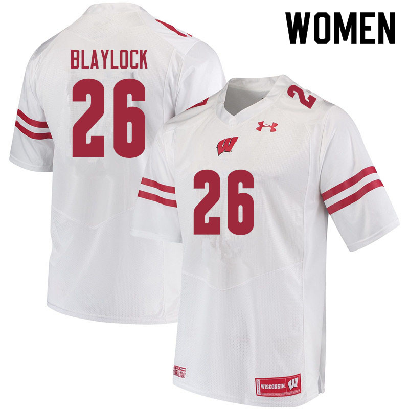 Women #26 Travian Blaylock Wisconsin Badgers College Football Jerseys Sale-White