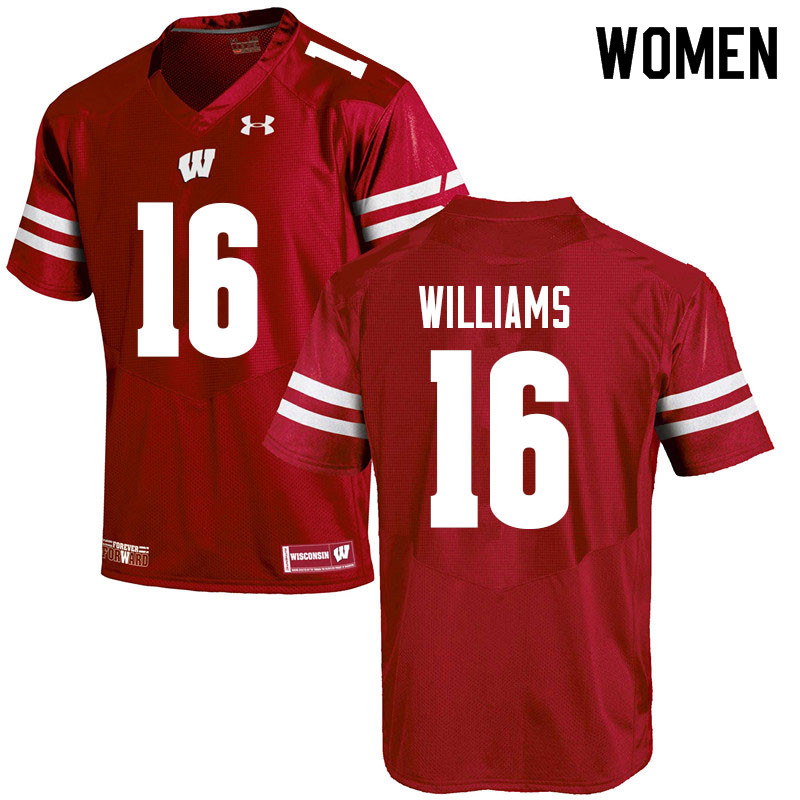 Women #16 Amaun Williams Wisconsin Badgers College Football Jerseys Sale-Red