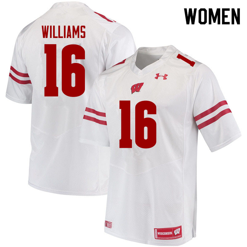 Women #16 Amaun Williams Wisconsin Badgers College Football Jerseys Sale-White