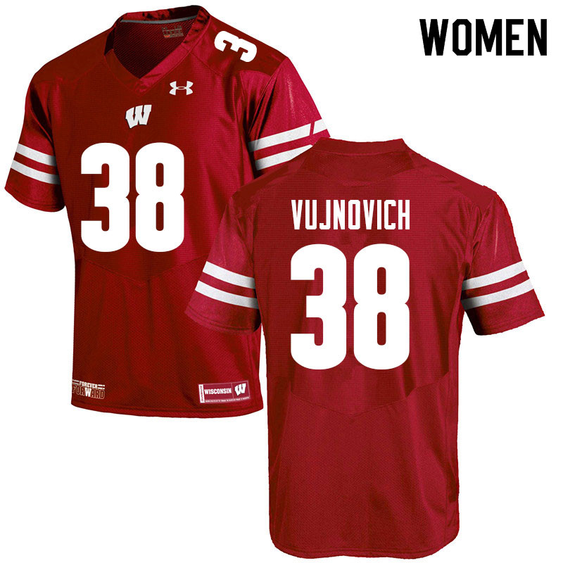 Women #38 Andy Vujnovich Wisconsin Badgers College Football Jerseys Sale-Red