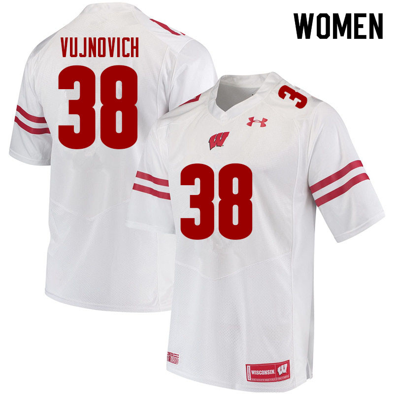 Women #38 Andy Vujnovich Wisconsin Badgers College Football Jerseys Sale-White