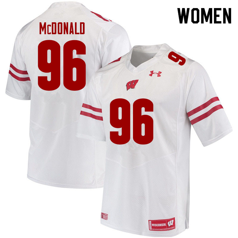Women #96 Cade McDonald Wisconsin Badgers College Football Jerseys Sale-White