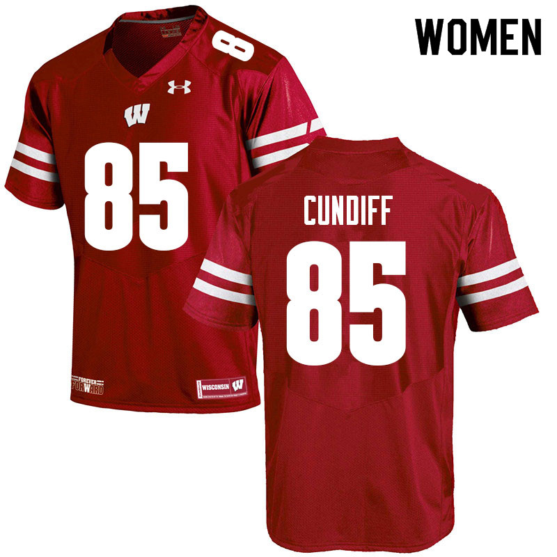 Women #85 Clay Cundiff Wisconsin Badgers College Football Jerseys Sale-Red