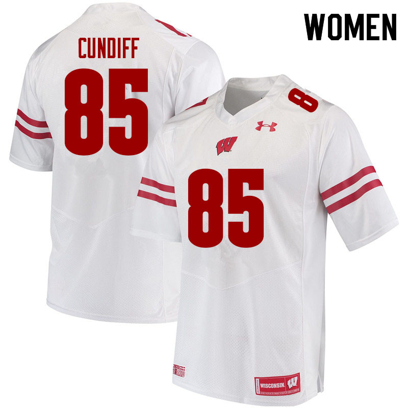 Women #85 Clay Cundiff Wisconsin Badgers College Football Jerseys Sale-White