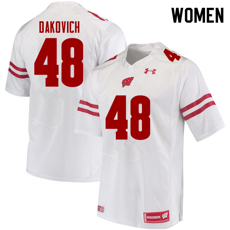 Women #48 Cole Dakovich Wisconsin Badgers College Football Jerseys Sale-White