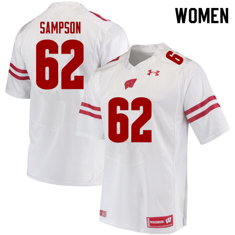 Women #62 Cormac Sampson Wisconsin Badgers College Football Jerseys Sale-White